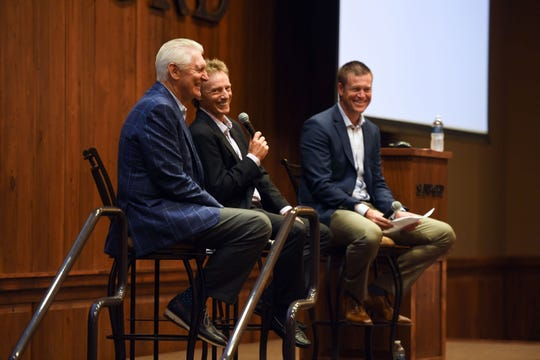 Andy North, Sanford International tournament host and two-time U.S. Open champion, and Bernhard Langer, Sanford International board member and two-time Masters champion, participate in a question-and-answer panel ahead of the Sanford International Tournament on Tuesday, September 16, at the Sanford Center corporate office in Sioux Falls.