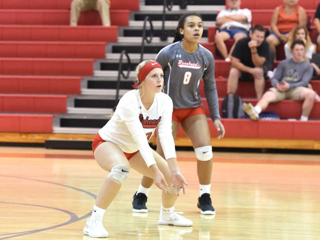 Riverheads' Sam Persinger waits for the ball during Monday's match against Waynesboro.