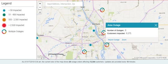 An Xcel Energy outage map shows outages in St. Cloud, Sartell and Sauk Rapids on Tuesday, Sept. 17, 2019.