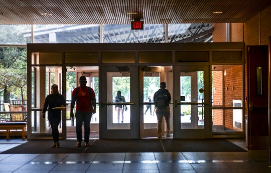 Students make their way into the James W. Miller Learning Resources Center Tuesday, Sept. 17, 2019, at St. Cloud State University.