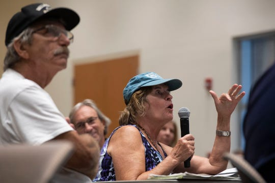 """""""What about health?"""" questions Anna Bergalis, of Sewall's Point, during a Lake Okeechobee water operations exercise at the second Lake Okeechobee System Operating Manual public workshop hosted by the U.S. Army Corps of Engineers on Tuesday, Sept. 17, 2019, at Indian River State College Chastain Campus in Stuart. """"They don't say anything about healthcare here,"""" Bergalis said. Bergalis' husband contracted pneumonia in 2018 during a toxic blue-green algae outbreak in the St. Lucie River and continues to see a doctor for treatment."""