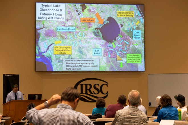 """Army Corps engineers and economists, concerned residents and employees of area municipalities were among those participating in a Lake Okeechobee water operations exercise at the second Lake Okeechobee System Operating Manual public workshop hosted by the U.S. Army Corps of Engineers on Tuesday, Sept. 17, 2019, at Indian River State College Chastain Campus in Stuart. The exercise was meant to put the crowd in a realistic decision making scenario, said Calvin Neidrauer, chief hydrologist for the South Florida Water Management District and creator of the exercise. """"It's an opportunity for folks in a rather light environment to get a feel for the factual information that drives the lake decisions and have the opportunity to make the decisions themselves,"""" Neidrauer said."""