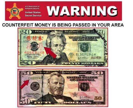 The U.S. Secret Service warns that counterfeit money imprinted with Chinese and Russian lettering has been found in the El Paso region.