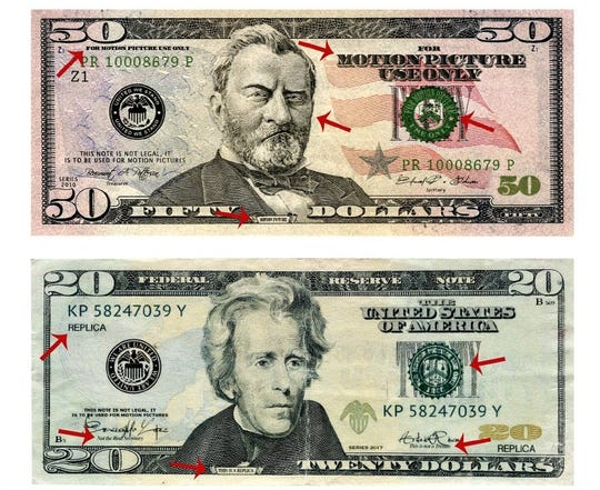 "Counterfeit money marked ""for motion picture use only"" has been found in El Paso."