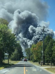 A view from Lebanon Road where smoke is seen rising from the F&S Produce facility in Rosenhayn.