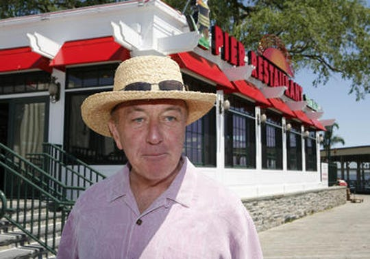 John Ambrose chats outside of the Pier Restaurant and Tiki Bar in Rye in 2010.