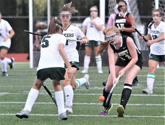 Molly Darcy of Nanuet tries to dodge Yorktown's Danielle Gridley (5) during Sept. 16, 2019 game that ended in a 3-3 tie.