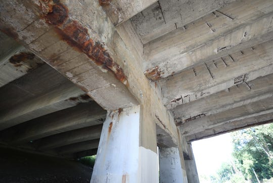 The underside of the Route 100C bridge, above Route 9A in Greenburgh, Sept. 17, 2019.