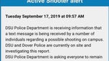 Several students reported receiving anonymous texts of a potential shooter on campus, but authorities say no shots or injuries have been been reported.