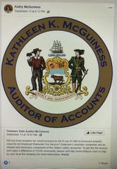 The Delaware secretary of state told state auditor Kathy McGuiness not to alter the official state seal with her name.