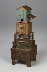 """Sculptor Robbie Barber will open his exhibit Friday, Sept. 20, at the Juanita Harvey Art Gallery in Fain Fine Arts, including the piece called """"Small Stacked Barn."""" Barber was assistant professor of at MSU from 1994-2000."""