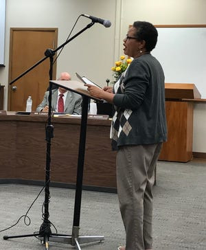 Penny Rhodes speaks her mind about local schools at a Wichita Falls ISD Board meeting as shown in this Sept. 17, 2019, file photo.