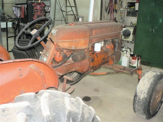 An old Allis Chalmers ready for restoration in the Agnew shop.