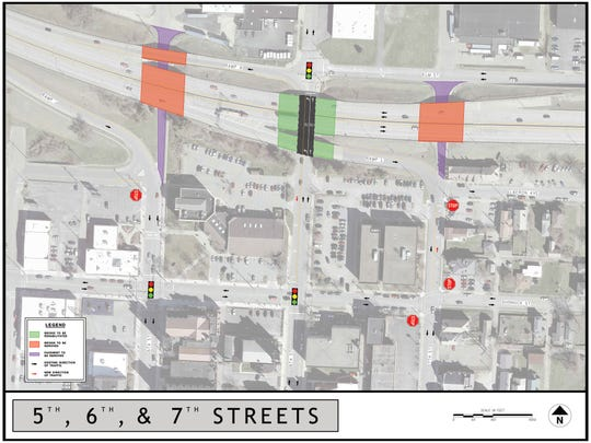 An ODOT drawing of the planned changes to the I-70 corridor through downtown Zanesville.