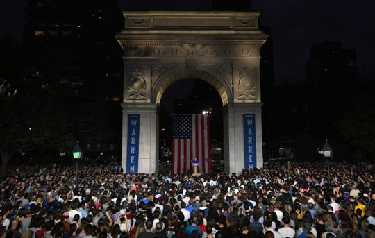 Democratic presidential hopeful Massachusetts Senator Elizabeth Warren delivers a speech under the Washington Square Arch in Washington Square Park, New York City on September16, 2019.