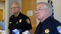 Tiburon police chief Mike Cronin answers a reporter's question as Fire Chief Richard Pearce stands to the side during a news conference about a man on manslaughter charges at the police station in Tiburon, Calif., Monday, Sept. 16, 2019.