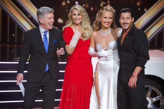 "On the ""Dancing with the Stars"" two-hour season premiere Sept. 16, co-host Tom Bergeron, Christie Brinkley, who broke her wrist during practice and had to bow out, her daughter Sailor Brinkley-Cook and pro Val Chmerkovskiy."