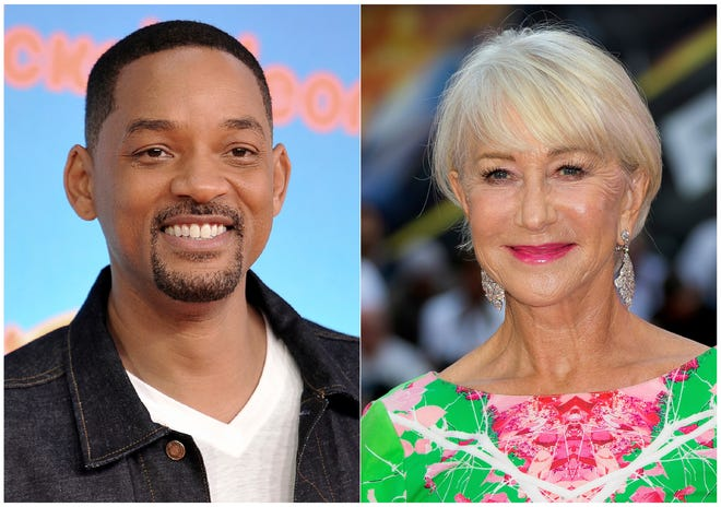 """This combination photo shows Will Smith at the Nickelodeon Kids' Choice Awards in Los Angeles on March 23, 2019, left, and Helen Mirren at a special screening of """"Fast & Furious: Hobbs & Shaw,"""" in London on July 23, 2019. Smith and Mirren will read a bedtime story during a one-night fundraising event to help fight global homelessness. They will each tell their story from different locations during the World's Big Sleep Out on Dec. 7. The campaign will encourage people in 50 cities globally to sleep outside for a night in hopes of raising $50 million for the charity. (AP Photo) ORG XMIT: NYET120"""