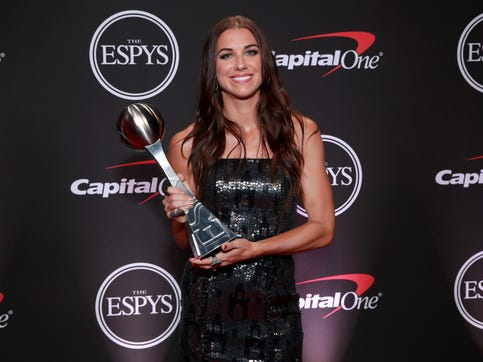 Alex Morgan poses with the ESPY Award for Best Female Athlete during The 2019 ESPYs at Microsoft Theater on July 10, 2019 in Los Angeles, California.