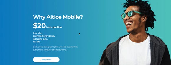 Altice Mobile's ad for $20 monthly service