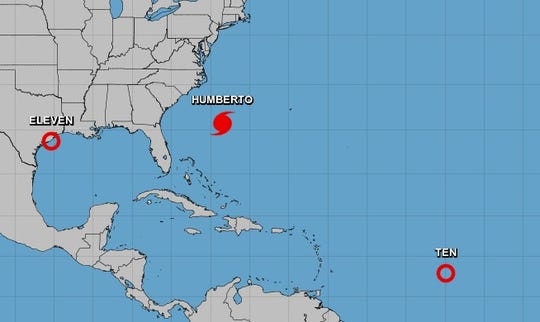 Three systems – Tropical Storm Imelda near Texas, Hurricane Humberto near Bermuda and Tropical Depression Ten – are all spinning in the Atlantic Basin on Sept. 17.