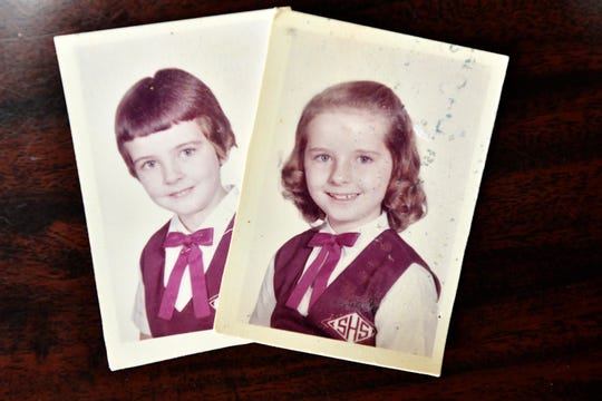 "Ann Hagan Webb in 3rd grade, right,  and her sister Carol Hagan McEnteee in first grade in 1960. Webb did not remember being the victim of abuse as a child attending Sacred Heart elementary school in West Warwick, Rhode Island until she was 40. Her sister Carol Hagan McEntee, left, a member of the Rhode Island House of Representatives, introduced legislation to amend the state's civil statute of limitations for childhood sexual abuse. McEntee named her legislation ""Annie's Bill"" in honor of her sister."