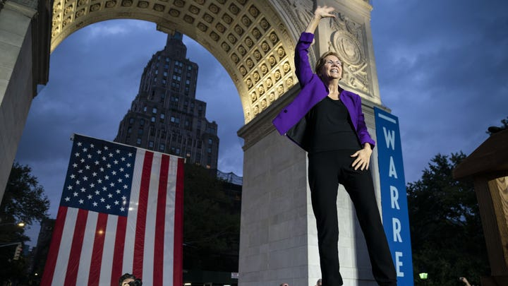 2020 Democratic presidential candidate Sen. Elizabeth Warren (D-MA) arrives for a rally in Washington Square Park on September 16, 2019 in New York City. Warren unveiled a sweeping anti-corruption plan earlier on Monday.