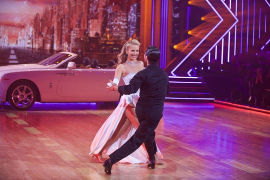 Sailor Brinkley-Cook, filling in for her injured mother, Christie Brinkley, performs a fox-trot with pro partner Valentin Chmerkovskiy on ABC's' Dancing With the Stars.'