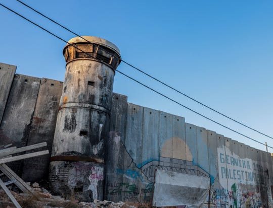 A West Bank view of a security wall Israel has built separating Palestinians from Israelis, on Sept. 11, 2019.