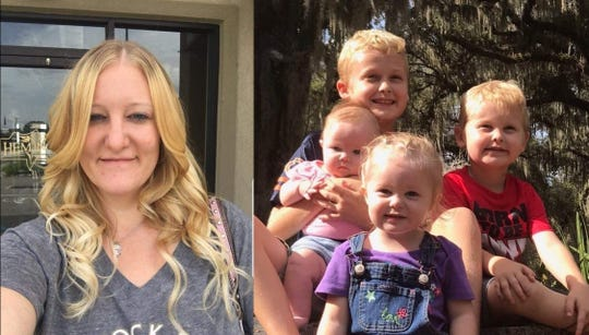 (Left) Casei Jones, 32. (Right) Casei Jones' four children.
