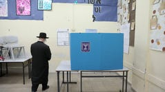 An Ultra-Orthodox Jewish man during voting in the Israeli legislative elections, in Jerusalem, Israel, 17 September 2019. Israelis are heading to the polls for a second general election, following the prior elections in April 2019, to elect the 120 members of the 22nd Knesset, or parliament.