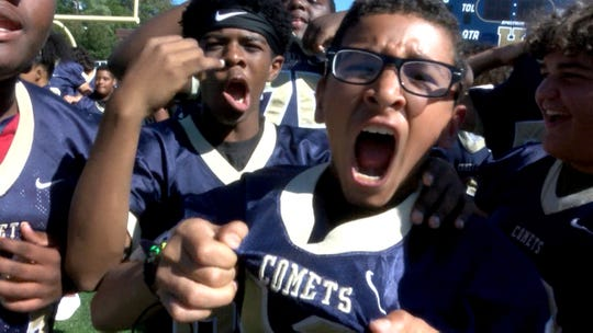 The Hackensack High School 'Comets' get fired up during a taping of the Red Zone Road Show Tuesday, September 17, 2019.  They will face off against Paramus Catholic Friday night.