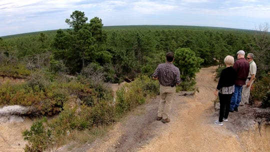 Ocean County officials look into the Pine Barrens at the Forked River Mountains in Lacey Township Monday, September 16, 2019