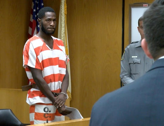 Jeray Melton is shown during his initial appearance before Judge Therese Cunningham in State Superior Court in Toms River Wednesday, September, 18, 2019.  Melton, along with Mark Austin, are charged in the murder of Mark Austin Sr. in Brick.