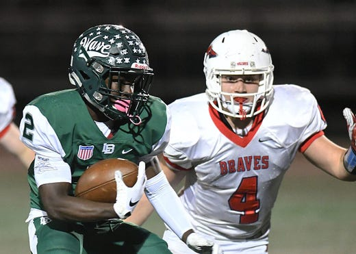 Long Branch's Jermaine Corbett, shown against Manalapan in 2018, is one of the running backs to watch in the Shore Conference this week.