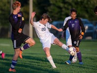 Gull Lake senior Nick Tracy (20) controls the ball on Tuesday, Sept. 17, 2019 at Lakeview High School. Gull Lake defeated Lakeview 4-1.