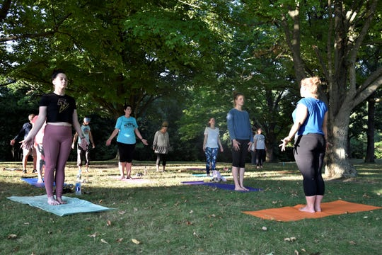 Twelve people attended the Otterdance Yoga class at Leila Arboretum on Tuesday, Sept. 17, 2019.