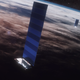A rendering of a SpaceX Starlink satellite in low-Earth orbit.