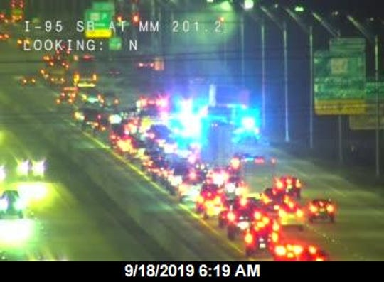 A tractor trailer caught fire on Interstate 95 and is disrupting traffic as it blocks lanes of travel in Cocoa, highway officials said.