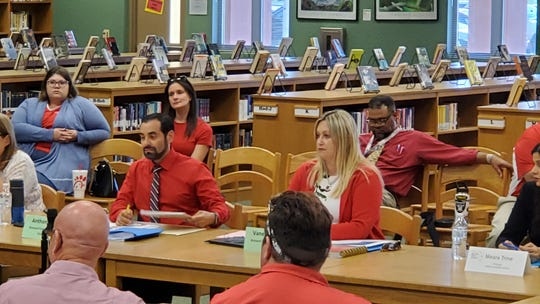 Brevard Federation of Teachers President Anthony Colucci and Vice President Vanessa Skipper at Monday's bargaining session at Viera High School.