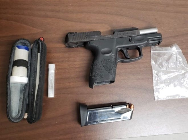 This firearm and drug paraphernalia were seized after a traffic stop on West Mary Street Tuesday night, according to Bucyrus police.