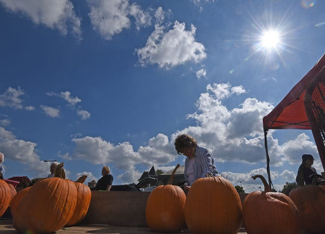 Pumpkins were a popular purchase Tuesday during the Crestline Farmers Market.
