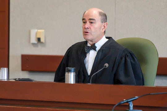 Judge Samuel Hoar presides over a hearing in the case of Aita Gurung in Vermont Superior Court in Burlington on Wednesday, September 18, 2019.  Gurung is accused of killing his wife and injuring his mother-in-law in 2017.  Chittenden State's Attorney Sarah George declined to press charges because Gurung's defense team claimed he was insane at the time of the crime.  Attorney General TJ Donovan overruled her and refiled charges.  The hearing Wednesday was to determine whether the state's case could move forward.