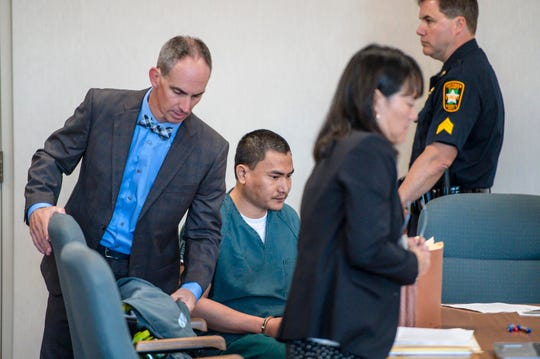Aita Gurung arrives for a hearing in Vermont Superior Court in Burlington on Wednesday, September 18, 2019.  Gurung is accused of killing his wife and injuring his mother-in-law in 2017.  Chittenden State's Attorney Sarah George declined to press charges because Gurung's defense team claimed he was insane at the time of the crime.  Attorney General TJ Donovan overruled her and refiled charges.  The hearing Wednesday was to determine whether the state's case could move forward.