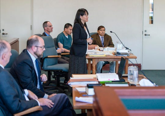 Defense attorney Sandra Lee speaks during a hearing in the case of Aita Gurung in Vermont Superior Court in Burlington on Wednesday, September 18, 2019.  Gurung is accused of killing his wife and injuring his mother-in-law in 2017.  Chittenden State's Attorney Sarah George declined to press charges because Gurung's defense team claimed he was insane at the time of the crime.  Attorney General TJ Donovan overruled her and refiled charges.  The hearing Wednesday was to determine whether the state's case could move forward.