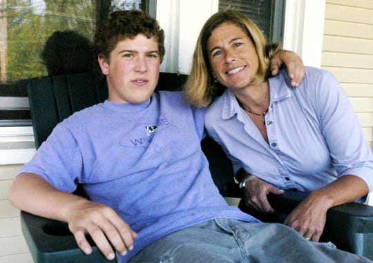 Linda Luxenberg with her son Travis when he lived at a home on Flynn Avenue in Burlington in 2004.