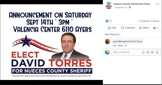 Retired Corpus Christi Police Commander David Torres announced his bid for Nueces County Sheriff on Sept. 14, 2019.