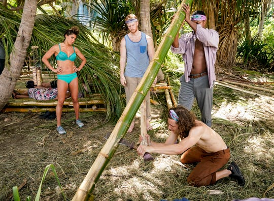 Noura Salman, Tommy Sheehan, Jack Nichting and Jamal Shipman on  'Survivor: Island of Idols.'