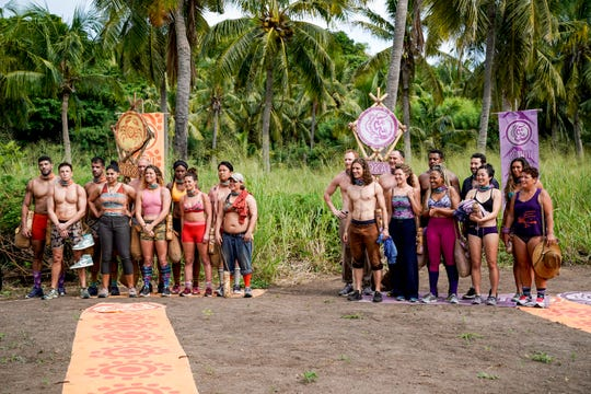 The Lairo Tribe and The Vokai Tribe on  'Survivor: Island of Idols.'
