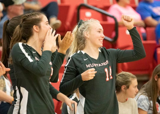 Westfall's Molly Neff celebrates for her team during a 3-0 win over Zane Trace Sept. 17, 2019 at Zane Trace High School in Chillicothe, Ohio.